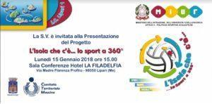 """Lipari: """"L'isola c'è...lo sport a 360°"""" la presentazione del progetto il 15 gennaio"""